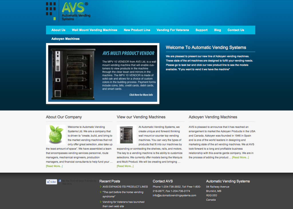 Automatic Vending Systems WordPress Website Design
