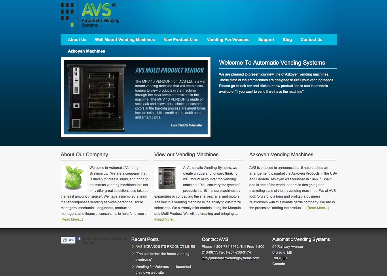 Automatic Vending Systems WordPress Website Design