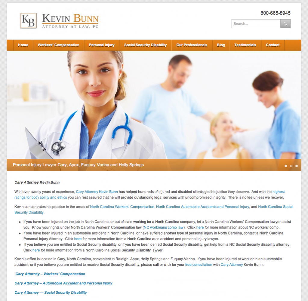 Cary NC Attorney WordPress Web Design