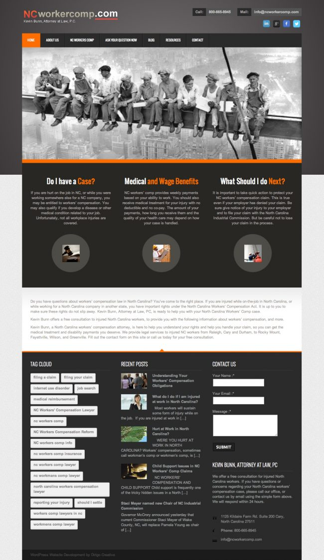 Dirigo Creative Redesigns Website for NC Worker Comp - Raleigh Custom WordPress Design
