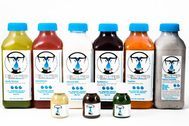 Product Photography of Juices from Cold Off The Press Downtown Raleigh